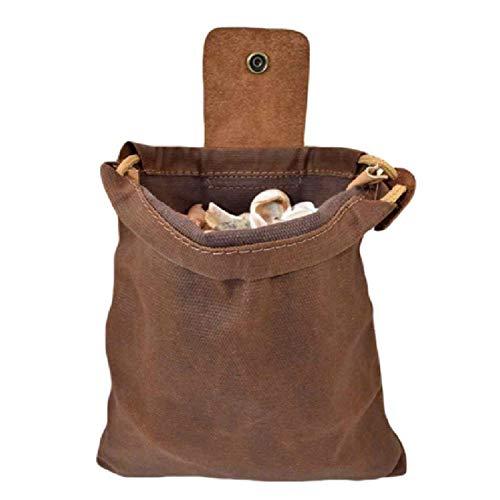Memea Riñonera de lona con cubierta de cuero y hebilla plegable resistente bolsa de herramientas con cordón para acampar al aire libre