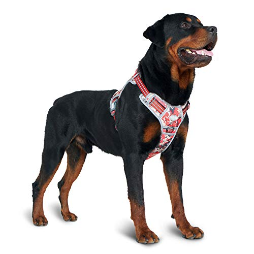 Auroth Tactical Dog Training Harness No Pulling Front Clip Leash Adhesion Reflective K9 Pet Working Vest Easy Control for Small Medium Large Dogs Red Camo L