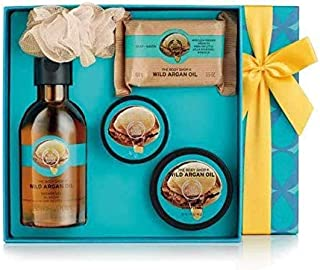 the body shop wild argan oil essential selection (shower gel, body butter, body scrub, soap, bath lily)