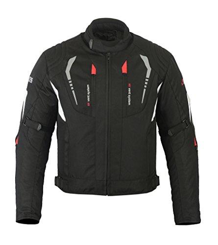 Herren BOSmoto Motorradjacke mit Protektoren Motorrad Jacke Textil Biker Schwarz Rot Weiß Grau (XXXXL)