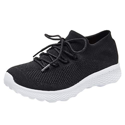 BRISEZZ Sneaker Sportschoenen dames, damesmode fitnessschoenen, slijtvaste dames wandelschoenen sokken sneakers mesh slip on lazy loopschoenen, turnschoenen om te lopen (zwart, blauw, roze, wit, 36-40)