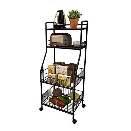 Multifunctionele Keuken Rack, Hoge Capaciteit Magnetron Stand, Utility Cart Display Plank op Wielen met 4-Tier Plank en Groenten Organizer