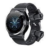 HQPCAHL Montre Connectée avec Cardiofrequencemètre Et Tensiomètre Smartwatch Écouteurs Bluetooth Montre Sport Podometre Calories Chronometre Montre Intelligente Tactile,Noir