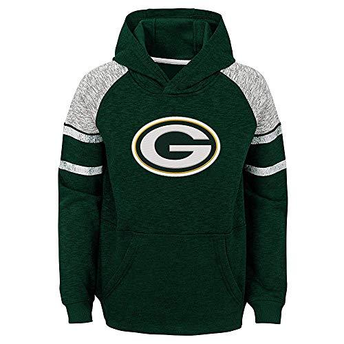 NFL Boys Youth 8-20 Team Color Primary Logo Linebacker Raglan Pullover Fleece Hoodie Sweatshirt (Green Bay Packers, Youth Small 8)