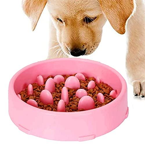 GWL Cuenco de Lenta Alimentación para Perros, Slow Eating Dog Bowl, Tazón de Antideslizante Interactivo Saludable Alimentador para Evitar el Ahogo y Comer Demasiado para Perros y Gatos (Rosado)