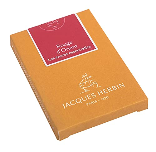 Jacques Herbin 11069JT - Boite de 7 grandes cartouches - taille internationale, pour stylo-plumes et stylos roller - Rouge d'Orient. Fabriqué en France