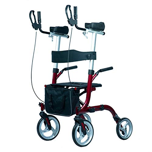 WINLOVE Upright Rollator Stand Up Aluminium Walker for Rolling Mobility Walking Aid with Armrest for Seniors