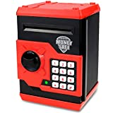 Yoego Kids Money Bank, Electronic Piggy Banks, Great Gift Toy for Kids Children, Auto Scroll Paper Money Saving Box Password Coin Bank,Perfect Toy Gifts for Boys Girls (Black red)