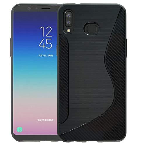 Pixfab Schutzhülle für Samsung Galaxy A6S SM-G6200, ultradünn, stoßfest, TPU-Silikongel, Thermoplastisches Polyurethan Silikon, Schwarz , Samsung Galaxy A6s SM-G6200