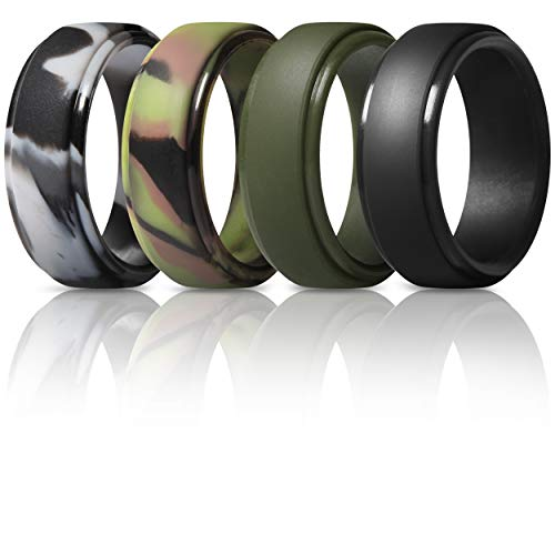 ThunderFit Silicone Rings for Men - 4 Rings Step Edge Rubber Wedding Bands 10mm Wide - 2.5mm Thick (Black, Grey Camo, Dark Green, Green Camo, 9.5-10 (19.8mm))