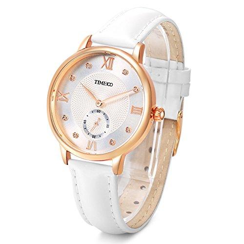 Time100 Reloj Cuarzo para Mujer de número Romano con Diamante de Color Blanco con segundero