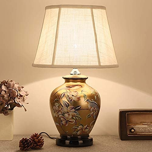 YMLSD Lámparas de Escritorio, Lámpara de Mesa de Cerámica Grande para Salón Dormitorio Lámpara de Cama Lámpara de Estar Estudio Chino Mandarin Light Light E27 Simple Elegante Diseño Todos Bronce Euro