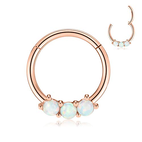 FUNLMO Septum Jewelry Daith Earrings 16G Septum Ring Rose Gold Daith Helix Rook Piercing Jewelry 10mm Septum Clicker Nose Rings Opal Helix Rook Earrings Surgical Steel Cartilage Earrings for Women