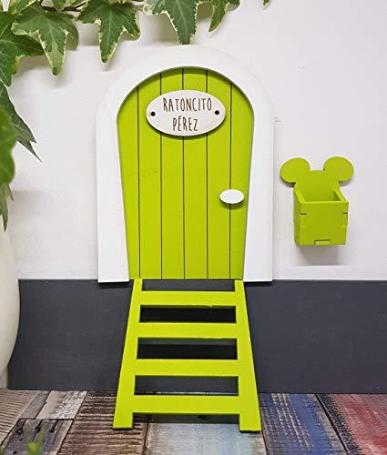 Puerta Ratoncito Pérez verde de madera,con escalera,buzón y certificado. Producto artesanal hecho en España