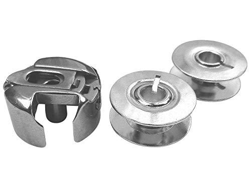 Spulenkapsel + 2 Metall Spulen für Pfaff 130, 230, 260, 262, 360, 362 Nähmaschine