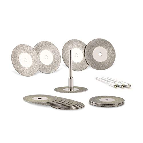 Universal 30mm Diamant Trennscheiben 20 Stück, mini Schneidscheiben Flexscheiben mit 4 Stück Dorne Schaft, Metall Diamantscheiben für Stein, Holz, Fliesen, Glas, Kunststoff