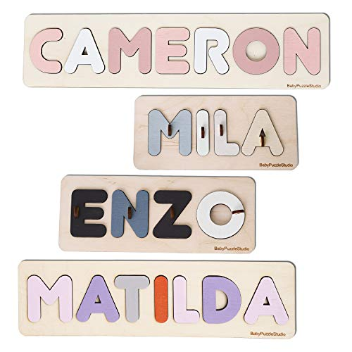 Personalized Name Puzzle with Pegs, Baby Shower Gift, Wooden Montessori toys with Shapes, Newborn Nursery Decor, Custom Name Signs for kids, Busy Board