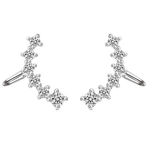 Pendientes de clip para mujer con circonitas, brillantes, piedras de cristal, largos, plateados