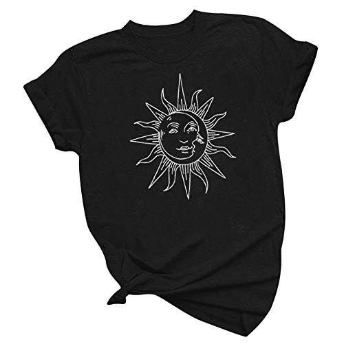 Routinfly Camisetas de mujer, sudaderas de verano para mujer, vintage, estampadas, informales, modernas, de manga corta, sueltas, casuales