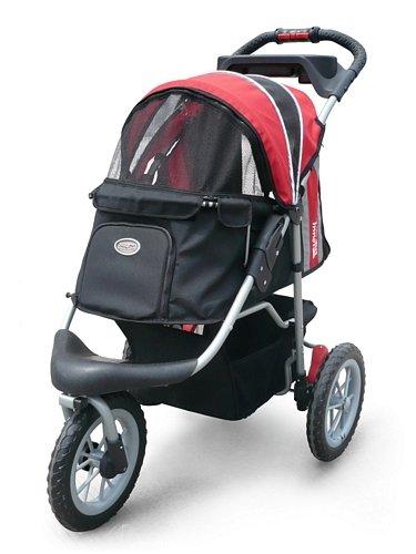 InnoPet Haustier-Buggy, IPS-075, rot/schwarz, Hunde-Tragetasche, Trolley, Comfort EFA Buggy.Faltbarer Haustier-Buggy für Hunde und Katzen.