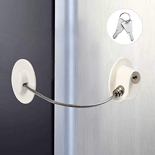 Kindersicherung für Kühlschrank, Kühlschrankschloss Sicherheitsbegrenzung Schloss und Türschloss, starkes Klebeschloss mit Edelstahl Schlüsselzylinder für Kleben Schloss zum Kindersicherung (White)