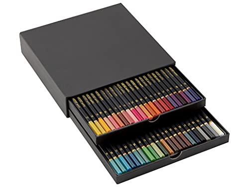 Craft Sensations Lot de 46 crayons de couleur de qualité supérieure - Rendu des couleurs optimal grâce aux mines de précision spéciales - Texture douce - Kit de luxe avec boîte de rangement pratique