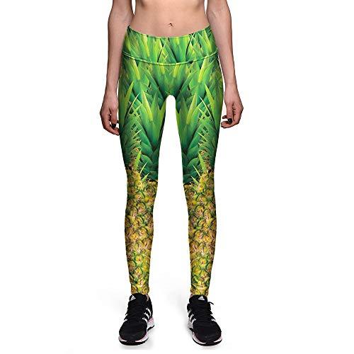 FBYYJK Women'S Leggings Sport, Green Plant Leaf Ananas Printing Panty Ademende Zachte Vocht Wicking Elastische Kracht Taille Niet-slip Snel Drogen Slimming Yoga Hardlopen Fitness