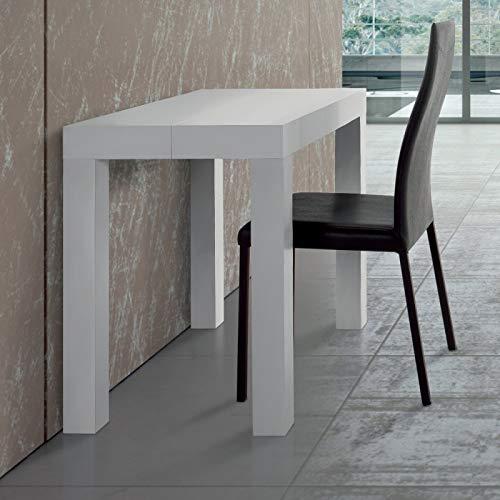 ARREDinITALY Tavolo consolle allungabile Riflesso Bianco 50 300 x 90 cm H.75. Tavolo Made in Italy Che può ospitare Fino a 14 Persone.