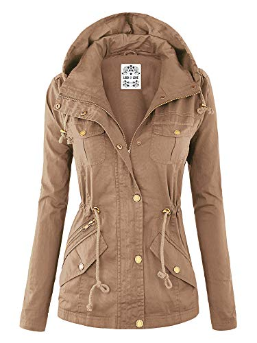 Lock and Love WJC643 Womens Pop of Color Parka Jacket L Khaki
