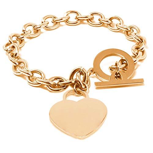 inSCINTILLE Corazón Rock - Pulsera de mujer de acero inoxidable pulido con corazón de color oro rosa