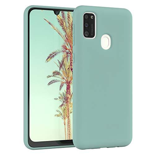 EAZY CASE Nano Silikon Handyhülle kompatibel mit Samsung Galaxy M30s, Slimcover mit Kameraschutz & Innenfutter, Silikonhülle, Schutzhülle, Bumper, Handy Hülle, Hülle, Softcase Ultra dünn, Mint Grün