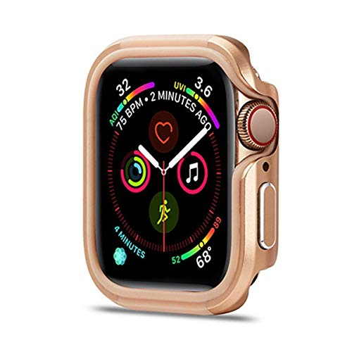 LLMXFC Cover For Apple Watch 6 Case 44mm 40mm Ultra-thin Full TPU+Metal Bumper Protector Case For IWatch Series 5 4 6 SE Accessories (Color : Rose gold, Dial Diameter : 44mm serise 654 SE)