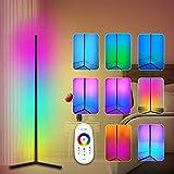 Lámpara de pie LED Smalibal con mando a distancia, 140 cm, 20 W, regulable, color RGB, ambiente cambiante, columna de luz para salón moderno dormitorio (ángulo derecho)