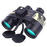 10X50 Prismáticos Marinos para Adultos Impermeable con Brújula Brújula BAK4 a Prueba de Niebla Prism Lens Binoculares Militar para Navegación Navegación Observación de Aves y Caza (B)