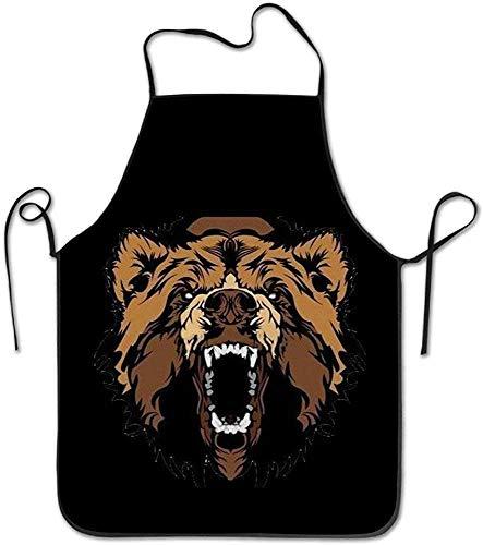 MODORSAN DelantalFunny Grizzly Roaring Bear Delantal de cocina de cocina