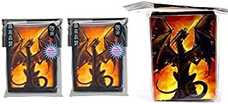 MAX PRO Supplies FIRE Breather - Deck Box + 100 Gloss Finish Mini Sleeves (fits YuGiOh and Other Smaller Sized Cards)