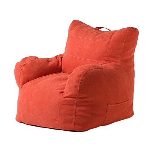 Sitzsack mit Füllung, Sitzkissen Bodenkissen Sessel BeanBag Luxury Riesensitzsack Lazy Bag für Kinder und Erwachsene, Abnehmbarer Bezug,Rot,EPS