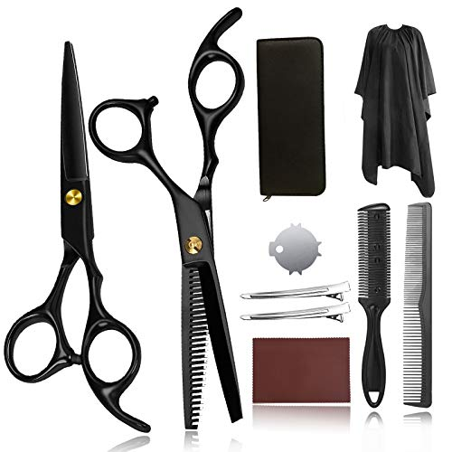 Hair Cutting Scissors for Women,Haircut Scissors Set Thinning Scissors for Cutting Hair Professional Shears Hair Cutting Kit with Hair Razor Comb, Cape, Clips, Leather Case 10Pcs