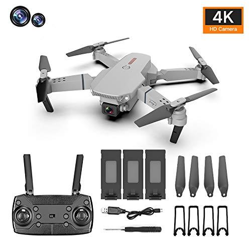 ADJU E88 Pro HD 4k Faltbare Drohne, 720P Dual-Kameras FPV Live-Video 110 ° Weitwinkel-Quadcopter mit Schwerkraftsensor, Gesten-Sprachsteuerung, Höhenhalt