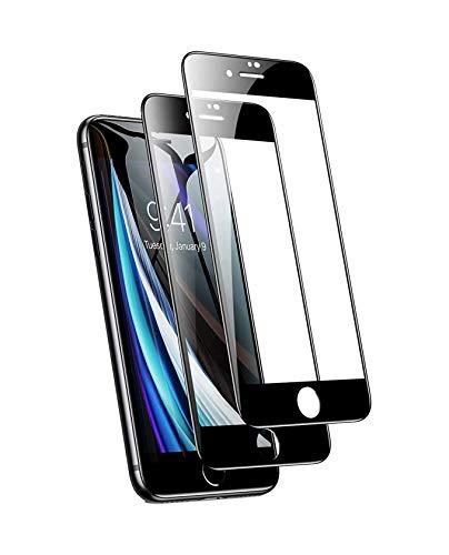 Confezione da 2 pellicole proteggi schermo di alta qualità per Apple iPhone 8 Plus, in vetro temperato trasparente, con copertura a schermo intero, alta trasparenza e custodia