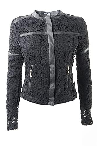 JOPHY & CO. Sudadera de mujer ligera con textura tipo encaje transparente sin capucha con cremallera y bolsillos laterales (cód. 3976) Negro S