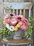 Joilkmgg Pintura por números Kits_Pink, Flowers, Flowerpot_de Pintar acrílica DIY para Adultos Niños Principiantes Fácil sobre Lienzo 40X50CM con Pinturas y Pinceles (sin Marco)