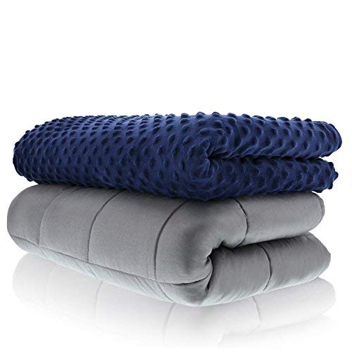 Sonno Zona Weighted Blanket Adult Size - Blanket with Cover Included - Navy 48x72 inches 15 Pound - Blankets Made from Relaxation Sleep Fabric for Natural Calm