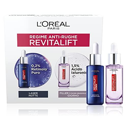 L Oréal Paris Cofanetto Anti-Rughe, Ideale per Pelli Mature, Include 1 Siero Viso Revitalift Filler con Acido Ialuronico Concentrato per il Giorno e 1 Siero Notte Revitalift Laser X3 con Retinolo Puro