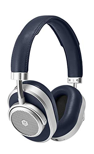 Master & Dynamic ANC Wireless Over-Ear-Kopfhörer, Noise Cancelling Kopfhörer, Premium Kopfhörer, Bluetooth Kopfhörer mit Mikro – Silber/ Marineblau, Einheitsgröße