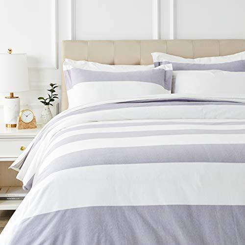 AmazonBasics Everyday Flannel Duvet Cover and 2 Pillow Sham Set - Full or Queen, Grey Stripe