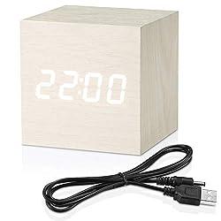 MiCar Digital Alarm Clock, Wood LED Light Mini Modern Cube Desk Alarm Clock Displays Time Date Temperature for Kids, Bedroom, Home, Dormitory, Travel (White)