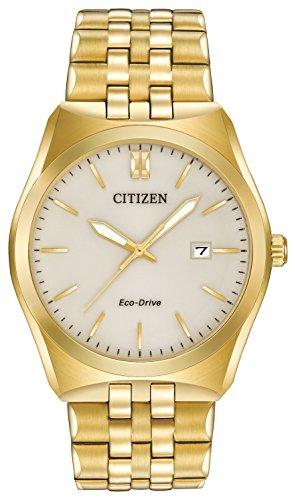 Citizen Corso Hombre Reloj de Cuarzo Beige con Esfera analógica Pantalla y Pulsera Chapado en Oro de Acero Inoxidable Plata bm7332–53P