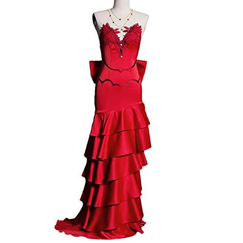 Xin Hai Yuan Final Cosplay Fantasy VII AERIT Cosplay Costura Costura Mujeres para Adultos Mujeres Mujeres Largo Rojo Vestido Vestido Halloween Carnaval Disfraces,M