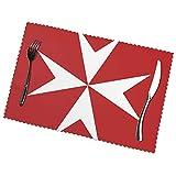 yongwang Juego de 6 manteles individuales de bandera de Malta, antideslizantes, resistentes al calor, lavables, para cocina, comedor, decoración del hogar, 30,5 x 45,7 cm